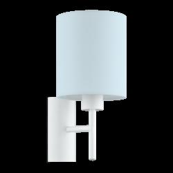 Φωτιστικό απλίκα μονόφωτη 1x60W, με υφασμάτινο καπέλο Ø14,5cm σε χρώμα παστέλ ανοιχτό μπλε PASTERI-P 97388