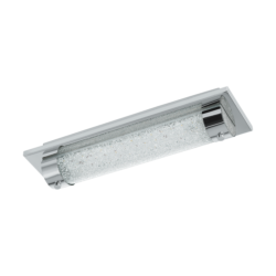 Φωτιστικό οροφής-απλίκα LED 8W, μήκους 35cm, IP44, με μέταλλο σε χρώμιο, γυαλί και κρύσταλλο TOLORICO 97054