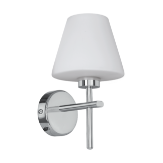 Απλίκα μπάνιου LED G9 3W, θερμό φως, ύψους 27cm, μέταλλο χρώμιο & γυαλί οπάλ λευκό FRISCOLI 97429