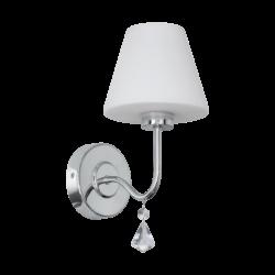 Απλίκα μπάνιου LED G9 3W, θερμό φως, ύψους 31cm, μέταλλο χρώμιο, γυαλί οπάλ λευκό & κρύσταλλο LORETTO 97609