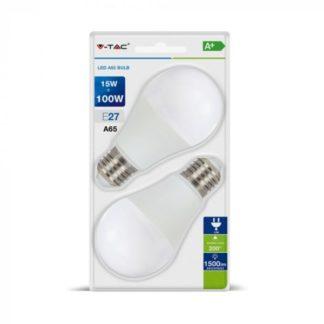 Λάμπα LED E27 A65 SMD 15W Φυσικό λευκό φως (4000K) Blister 2τμχ. V-TAC 7301