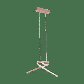 Φωτιστικό κρεμαστό LED 2x11W θερμό φως, μήκους 70,5cm, αλουμίνιο σε χρώμα ροζ χρυσό PALOZZA 97362