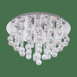 Φωτιστικό οροφής μπάνιου LED G9 8x3W, θερμό φως, Ø50cm, μέταλλο χρώμιο & κρύσταλλο ALMONTE 97699