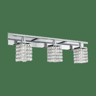 Φωτιστικό τοίχου μπάνιου LED G9 3x3W, θερμό φως, μήκους 63cm, μέταλλο χρώμιο & κρύσταλλο AREQUITO 97748