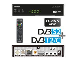 PICCOLLΙΝΟ S2+T2C H.265 HEVC COMBO δέκτης με δύο tuner, θύρα Card Reader και δυνατότητα επιλογής DVB-S & DVB-S2 για το δορυφορικό tuner αλλά και DVB-TT2 ή DVB-C tuner 01-07-0017