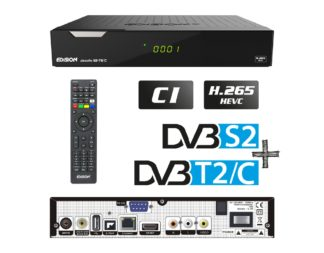 PICCOLLO S2+T2 C H.265 HEVC COMBO δέκτης με Card Reader, δύο tuner και δυνατότητα επιλογής DVB-S & DVB-S2 για το δορυφορικό tuner αλλά και DVB-T T2 ή DVB-C για το HYBRID tuner 01-07-0016