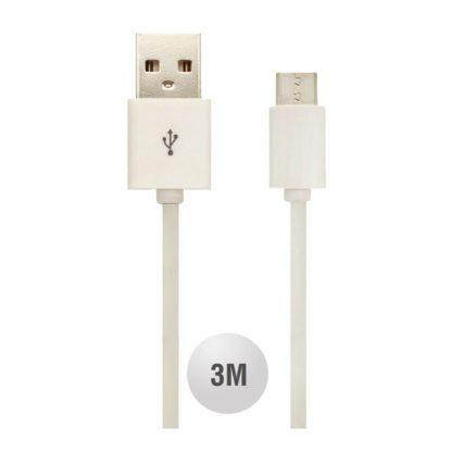 Καλώδιο Micro USB λευκό 3m VTAC 8451