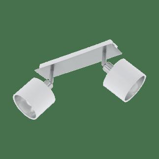 Σποτ Δύφωτο Ε14 x10W, Ασημί με Λευκό Ύφασμα Eglo Valbiano 97533