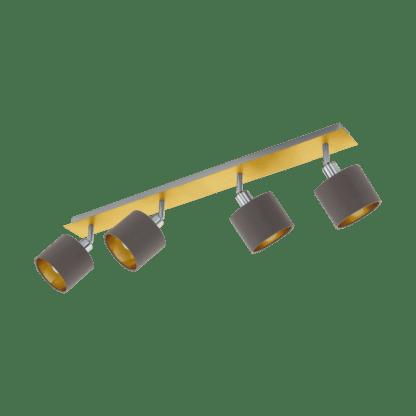 Σποτ Τετράφωτο Ε14 4x10W, Καπουτσίνο με Χρυσό Χρώμα Eglo Valbiano 97539