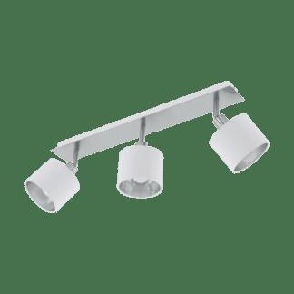 Σποτ Τρίφωτο Ε14 3x10W, Ασημί με Λευκό Ύφασμα Eglo Valbiano 97534