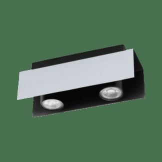 Φωτιστικό οροφής Δύφωτο 2χ5W Λευκό Αλουμινίου Και Μαύρο Χρώμα Eglo Viserba 97394
