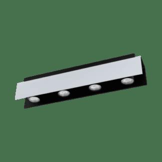 Φωτιστικό οροφής Τετράφωτο 4χ5W Λευκό Αλουμινίου Και Μαύρο Χρώμα Eglo Viserba 97397