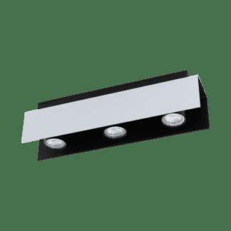 Φωτιστικό οροφής Τρίφωτο 3χ5W Λευκό Αλουμινίου Και Μαύρο Χρώμα Eglo Viserba 97396