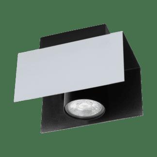 Φωτιστικό οροφής Mονόφωτο 1χ5W Λευκό Αλουμινίου Και Μαύρο Χρώμα Eglo Viserba 97394