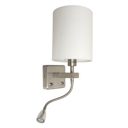 Led απλίκα λευκή κυλινδρική με ντουί Ε14 & βοηθητικό φωτισμό με εύκαμπτο led spot 1W (VK 64171-027171 W)