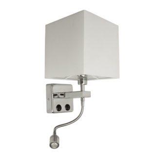 Led απλίκα λευκή τετράγωνη με ντουί Ε14, βοηθητικό φως με κινητό led spot 1W & διπλό διακόπτη (VK 64171-025171)