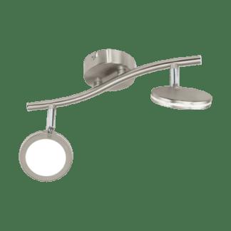Σποτ Οροφής & Τοίχου Δίφωτο 2x4W Σε Νίκελ Χρώμιο Και Λευκό Χρώμα Eglo Karystos 97068