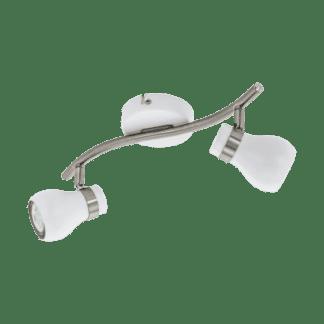 Σποτ Οροφής & Τοίχου Δίφωτο 2x5W Σε Νίκελ Και Λευκό Χρώμα Eglo Arboledas 97351