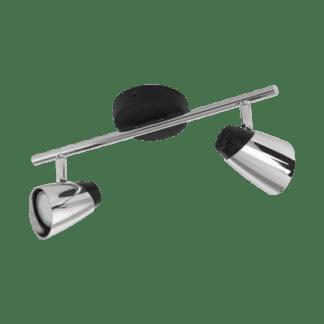 Σποτ Οροφής & Τοίχου Δίφωτο 2x5W Σε Χρώμιο Και Μαύρο Χρώμα Eglo Moncalvio 96716