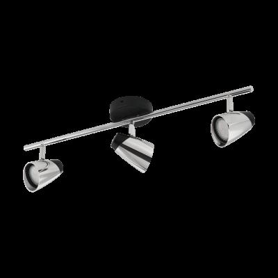 Σποτ Οροφής & Τοίχου Δίφωτο 3x5W Σε Χρώμιο Και Μαύρο Χρώμα Eglo Moncalvio 96717