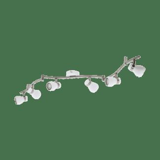 Σποτ Οροφής & Τοίχου Εξάφωτο 6x5W Σε Νίκελ Και Λευκό Χρώμα Eglo Arboledas 97354
