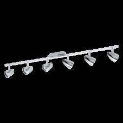 Σποτ Οροφής & Τοίχου Μεταλλικό LED Εξάφωτο 6Χ3W από ατσάλι και πλαστικό σε χρώμιο Eglo Corbera 93676