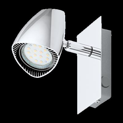 Σποτ Οροφής & Τοίχου Μεταλλικό LED Μονόφωτο 1Χ3W από ατσάλι και πλαστικό σε χρώμιο με διακόπτη rocker Eglo Corbera 93672