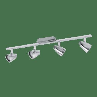 Σποτ Οροφής & Τοίχου Μεταλλικό LED Τετράφωτο 4Χ3W από ατσάλι και πλαστικό σε χρώμιο Eglo Corbera 93675