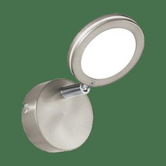 Σποτ Οροφής & Τοίχου Μονόφωτο 1x4W Σε Νίκελ Χρώμιο Και Λευκό Χρώμα Eglo Karystos 97067