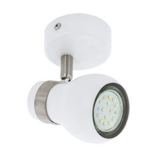 Σποτ Οροφής & Τοίχου Μονόφωτο 1x5W Σε Νίκελ Και Λευκό Χρώμα Eglo Arboledas 97349