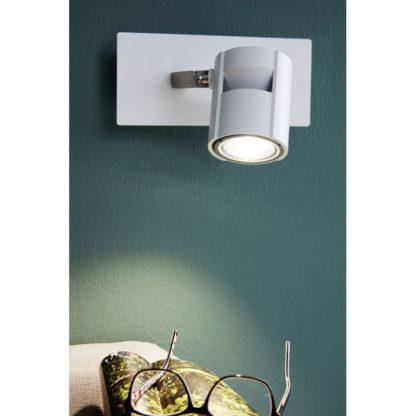 Σποτ Οροφής & Τοίχου Μονόφωτο 1x5W Σε Νίκελ Και Λευκό Χρώμα Eglo Vergiano 97506
