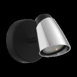 Σποτ Οροφής & Τοίχου Μονόφωτο 1x5W Σε Χρώμιο Και Μαύρο Χρώμα Eglo Moncalvio 96715
