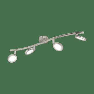 Σποτ Οροφής & Τοίχου Τετράφωτο 4x4W Σε Νίκελ Χρώμιο Και Λευκό Χρώμα Eglo Karystos 97071