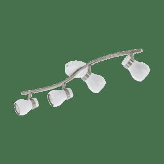 Σποτ Οροφής & Τοίχου Τετράφωτο 4x5W Σε Νίκελ Και Λευκό Χρώμα Eglo Arboledas 97353