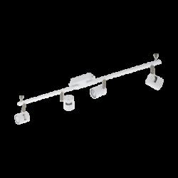 Σποτ Οροφής & Τοίχου Τετράφωτο 4x5W Σε Νίκελ Και Λευκό Χρώμα Eglo Vergiano 97509