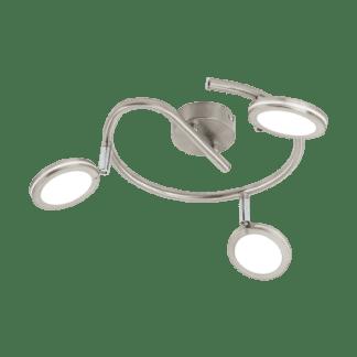 Σποτ Οροφής & Τοίχου Τρίφωτο 3x4W Σε Νίκελ Χρώμιο Και Λευκό Χρώμα Eglo Karystos 97069