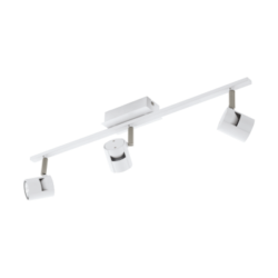Σποτ Οροφής & Τοίχου Τρίφωτο 3x5W Σε Νίκελ Και Λευκό Χρώμα Eglo Vergiano 97508