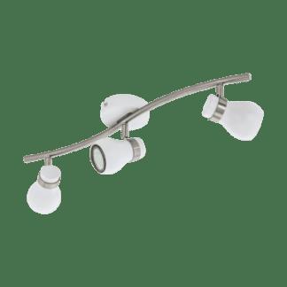 Σποτ Οροφής & Τοίχου Τρίφωτο 3x5W Σε Νίκελ Και Λευκό Χρώμα Eglo Arboledas 97352