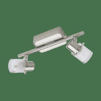 Σποτ οροφής και τοίχου LED μεταλλικό Δίφωτο 2Χ3.3W από ματ νίκελ ατσάλι και κάλυμμα από διαφανές λευκό ματ γυαλί Eglo Orvieto 93702