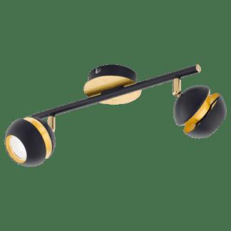 Σποτ οροφής & τοίχου LED Δίφωτο 2x3,3W Mεταλλικό από μαύρο-χρυσαφί ατσάλι Nocito 95483