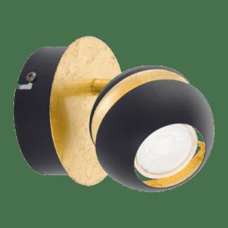 Σποτ οροφής & τοίχου LED Μονόφωτο 1x3,3W Mεταλλικό από μαύρο-χρυσαφί ατσάλι Nocito 95482
