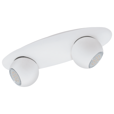 Σποτ Oροφής & Tοίχου LED Mεταλλικό Δίφωτο 2x5W από λευκό ατσάλι Eglo Norbello 93168