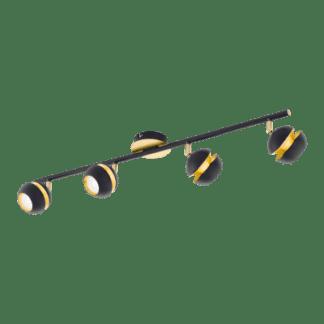Σποτ Oροφής & Tοίχου LED Tετράφωτο 4×3,3W Mεταλλικό από μαύρο-χρυσαφί ατσάλι Eglo Nocito 95485