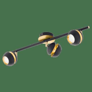 Σποτ Oροφής & Tοίχου LED Tρίφωτο 3×3,3W Mεταλλικό από μαύρο-χρυσαφί ατσάλι Eglo Nocito 95484