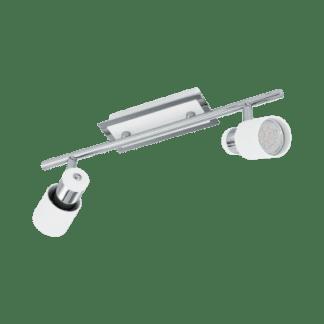 Σποτ Oροφής & Tοίχου Mεταλλικό LED Δίφωτο 2Χ5W από Λευκό-Xρώμιο ατσάλι με διακόπτη rocker Eglo Davida 92085