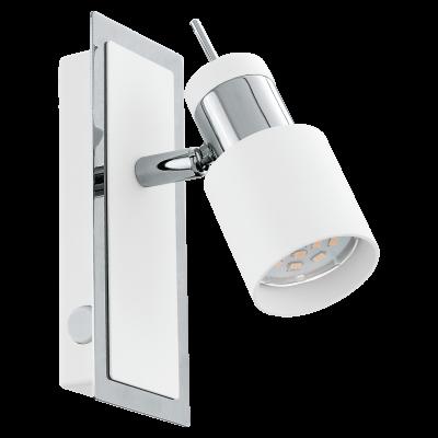 Σποτ Oροφής & Tοίχου Mεταλλικό LED Mονόφωτο 1Χ5W από Λευκό-Xρώμιο ατσάλι με διακόπτη rocker Eglo DAVIDA 92084