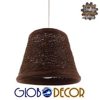 Vintage Κρεμαστό Φωτιστικό Οροφής Μονόφωτο Καφέ Σκούρο Ξύλινο Rattan Φ30 GloboStar MADISON 01333