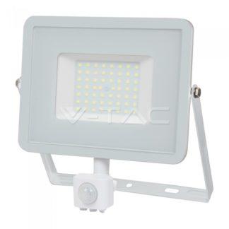 Προβολέας LED Samsung chip 50W Θερμό λευκό 3000K Λευκό σώμα με ανιχνευτή vtac 466