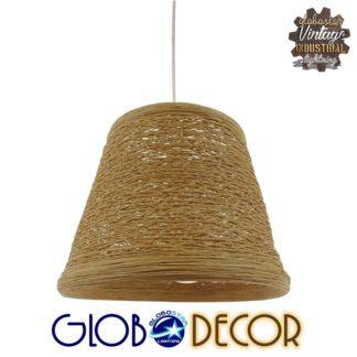 Vintage Κρεμαστό Φωτιστικό Οροφής Μονόφωτο Μπεζ Ξύλινο Ψάθινο Rattan Φ30 GloboStar FAIRFIELD 01332