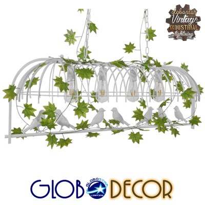 Vintage Industrial Κρεμαστό Φωτιστικό Οροφής Πολύφωτο Λευκό Μεταλλικό Πλέγμα GloboStar NIDUS 01403